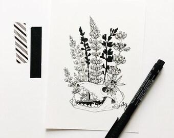 Lupine Flower Art, Floral Drawing, Wolf Skull Illustration, Botanical Skull Decor, Best Friend Gift Idea, Wolf Artwork, Gifts Under 50