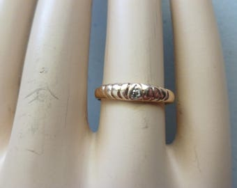 Vintage Gold and Diamond ring - 9ct Rose Gold Ring - 9kt Vintage Rose Gold Ring  Diamond Chip Rose Gold Ring  Vintage Unusual Rose Gold Ring