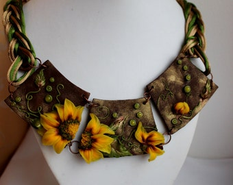 Polymer clay necklace Statement Necklace Unique necklace Large  flower necklace Sunflower jewelry Artisan necklace Handmade