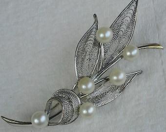 Vintage filigree sterling silver handmade pin/brooch