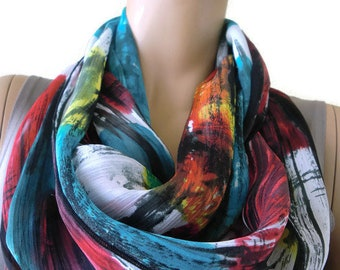 Abstract colorful-gorgeous chiffon Infinity scarf Circle scarf Loop scarf-Instant gratification