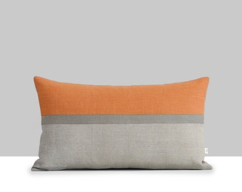 Pumpkin Horizon Line Pillow Cover with Stone Grey & Natural Stripes by JillianReneDecor, Autumn Home Decor, Fall Color Block, Orange Lumbar