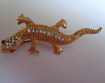 Vintage Unsigned Goldtone/Rhinestone Salamander Brooch/Pin  Red Eyes