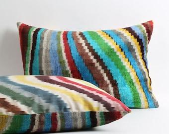 ikat velvet pillow cover with silk ikat backing 16x22 inch Rainbow multicolor lumbar decorative handwoven pillow