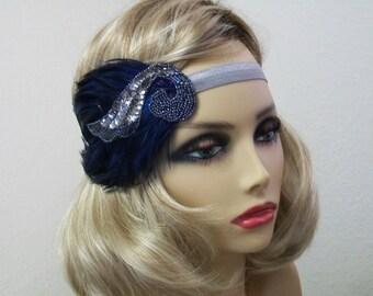 Flapper headband, Great Gatsby headband, 1920s headpiece, Feather headband, Art Deco, Roaring 20s, Flapper style, Vintage inspired