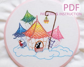 Color Houses in The Sky Hand Embroidery Pattern | Instruction | Beginner Pattern | DIY Embroidery PDF Pattern Hoop Art  | Instant Download