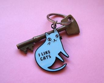 Enamel Cat Keyring - I like cats - Keyring - Cat kering - Enamel keyring - Blue cat - Cats - Cat gift - Keychain - Cat illustration - enamel