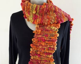 Pink and orange bobbly wool and silk hand spun, hand woven,  scarf