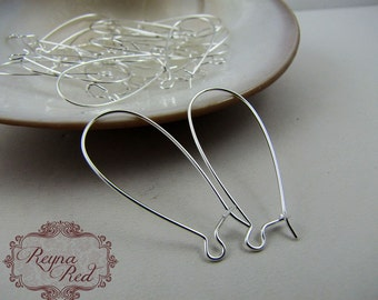 Silvertone Brass Kidney Earwires, simple earring findings, earring findings, earwires, silver earrings, silver earwires - reynaredsupplies