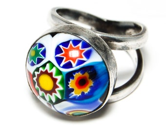 Venetian Millefiore Glass Colorful Sterling Silver Ring Size 7
