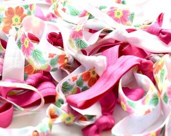 DIY Pink Floral Hair Ties, Create Your Own Favors, Pink Floral Hair Ties, Floral Hair Ties, Tropical Hair Ties, Aloha Hair Ties