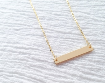 Dainty Gold Bar Necklace, Simple Charm Necklace, Minimalist Necklace, Geometric Charm Necklace, Birthday Gift, Holiday Gift (BLANK) - 3N