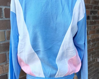 Vintage 80s 90s Pastel Sweatshirt Blue Pink and White