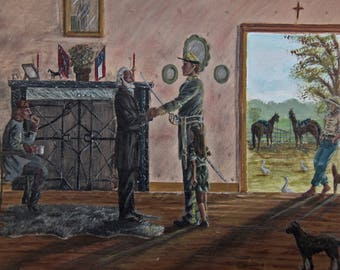 Civil War Themed Original Painting 16x20 | Robert E. Lee & Confederate Soldiers in 1860's Home | Nice Historical Painting w/Period Details!