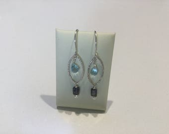 Blue Topaz, Iolite, Freshwater Pearls and Sterling Silver Earrings
