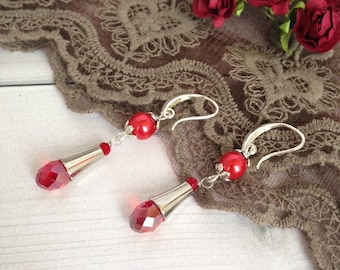 Red earrings Gift for woman  Beadwork  earrings Earrings gift Long earrings Elegant earrings Crystal earrings