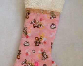 Soft peach/pink print flannel Christmas stocking