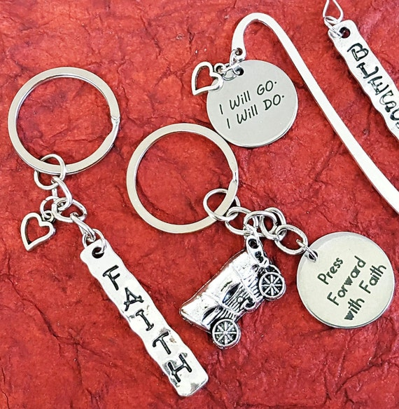 CUSTOM LDS Key Rings Key Chains, Gifts for LDS Missionaries Primary Young Women, lds Jewelry, Girls Camp Youth Conference, Word Quote Charms
