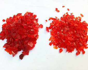 Crushed Glass Chip Gravels approx 3mm-8mm Red Angular Gravels Great for Fish Tank Supplies, Marimo Aquarium Decoration