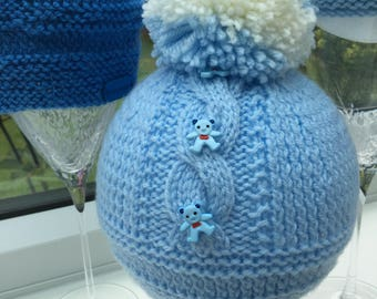 Hand Knitted Blue Pom Pom Baby Hat 0-3m