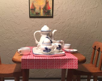 Vintage Blue and White Delft Miniature Tea Set Vintage Cottage English Country Shabby Chic Tabletop Minis