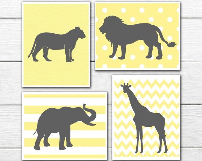 Jungle Nursery Prints  - 4 Print Set -  Nursery Decor -  Custom Colors -  Gray Yellow Nursery Decor