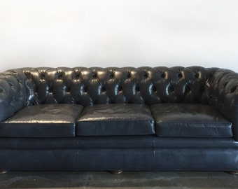 SALE! Gray Mid-Century Chesterfield Tufted Leather Sofa
