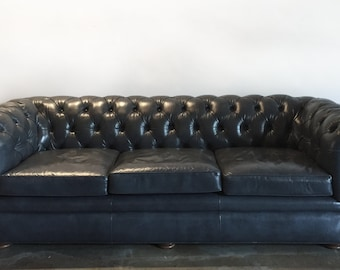 Gray Mid Century Chesterfield Tufted Leather Sofa