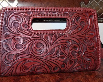 "ALLE ""Envelope"" Handcrafted Brown Tooled Leather Clutch Bag"