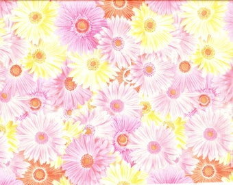 Tissu mprimé de larges gerberas roses , jaunes et orangés