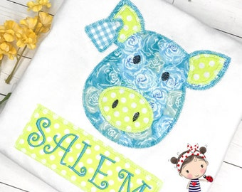 Girls Pig Applique Shirt/Bodysuit Embroidered Name Super Cute and FUN