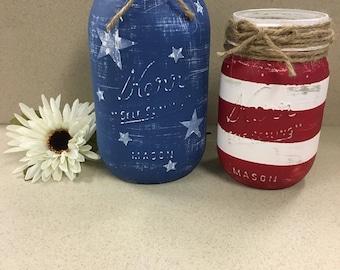 American Flag Decor, Patriotic Decor, Mason Jar Decor, Rustic Decor, Farmhouse Decor, Veteran Gift, USA Decor, USA Flag, American Flag, USA