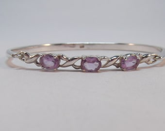 Very Pretty Silver and Amethyst Bangle