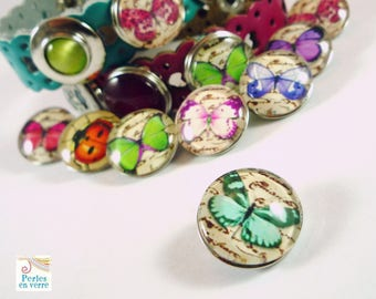 1 snap Chunk turquoise Butterfly cabochon glass 18mm (CH22)