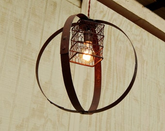 Barrel Ring Light W/ Vintage Bulb Cage, Pendant LIght, Industrial Light,  Vintage