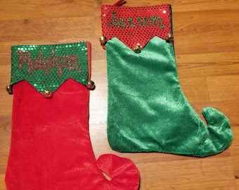 Personalized Christmas Stockings, Elf Stocking,