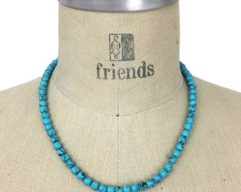 """Turquoise Bead Necklace 14k Clasp, 16"""" 6mm Turquoise Beads"""