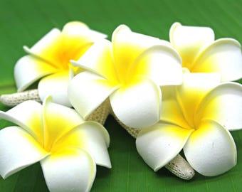 2.5 inch White Plumeria Foam Flower - Beach Weddings, Hula, Hawaii, Gardenia, Vacation, Tropical, Costumes. Luau