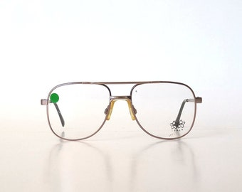 Luxottica Italy, Women's Vintage 80s Aviator Frames in Rose Gold  m. 6035, Deadstock, New Old Stock, Vintage Eyewear, Vintage Glasses