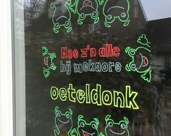 Mee z'n allen bij mekaore, Oeteldonk raamtekening, carnaval raamtekening, carnaval, krijtstifttekening, Den Bosch, Oetel, kikker