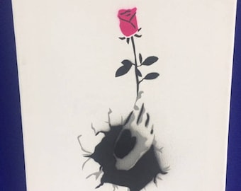 Rose in hand. Spray painted stencil to canvas. Original. Pink, black and grey