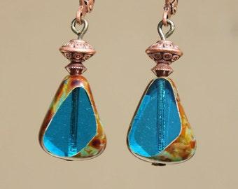 Blue Earrings Dangle Jewelry Drop Earrings Glass Earrings Copper Earrings Boho Chic Birthday Gift For women Gift For Her  Gift Ideas