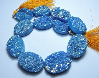 11 Pcs Very Attractive Natural Sky Blue Sparkling Titanium Coated Oval Shape Druzy Beads 27X20 - 19X15 MM