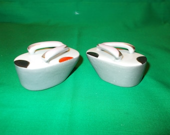 One Pair of Porcelain, Salt & Pepper Shakers, in the form of Japanese Geisha Sandals.