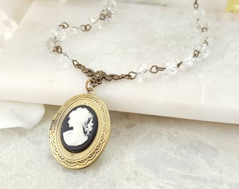Cameo Locket Necklace, Black and White, Crystal Necklace, Romantic Gift, Victorian Jewelry, Cameo Wedding, Bridesmaid Locket, Mother, S1048
