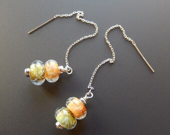 Frosted Melon Balls Lampworked Glass Bead and Sterling Silver Threader Earrings