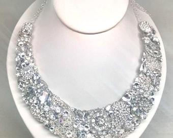 Rhinestone Statement Necklace- Bridal Bib Necklace- Wedding Necklace- Rhinestone Bridal Bib- Vintage Inspired Crystal Bib- Collar Necklace