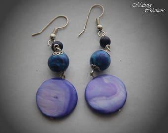 Dark blue polymer clay earrings