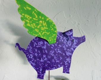 Metal Garden Art Sculpture Flying Pig Stake Lime Green Purple Outdoor Decor Yard Art Recycled Metal When Pigs Fly Custom Orders Welcome