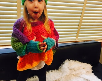 Rainbow Poncho, hat and fingerless glove set